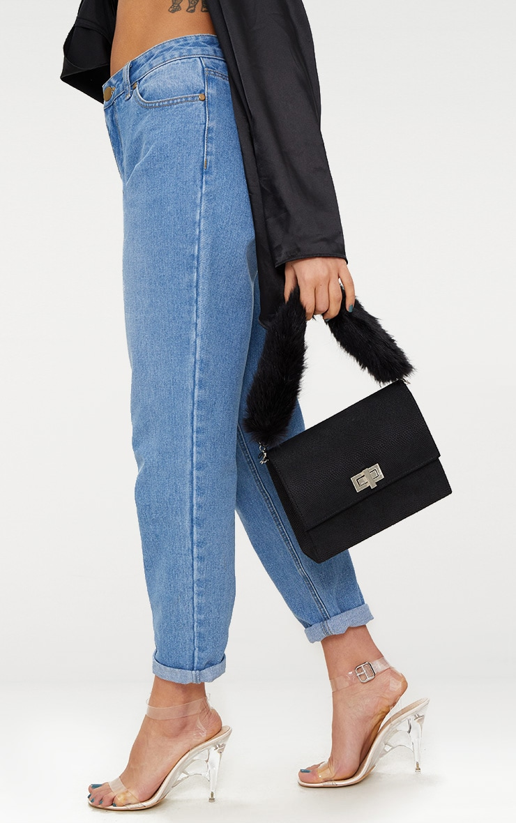 Black Faux Fur Handle Shoulder Bag 1