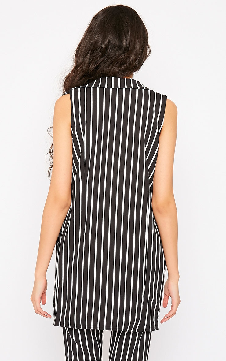 Jakoba Black Pinstripe Sleeveless Jacket 2