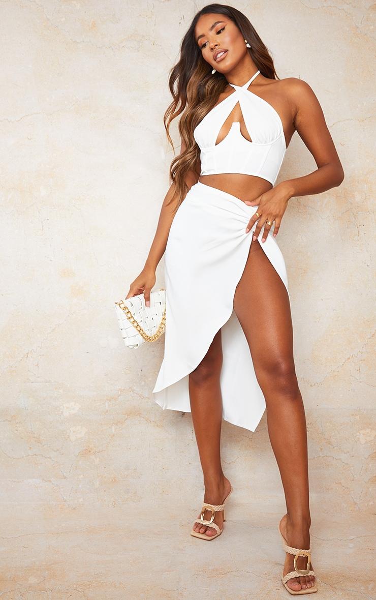 White Woven Knot Waist Split Leg Midaxi Skirt 1