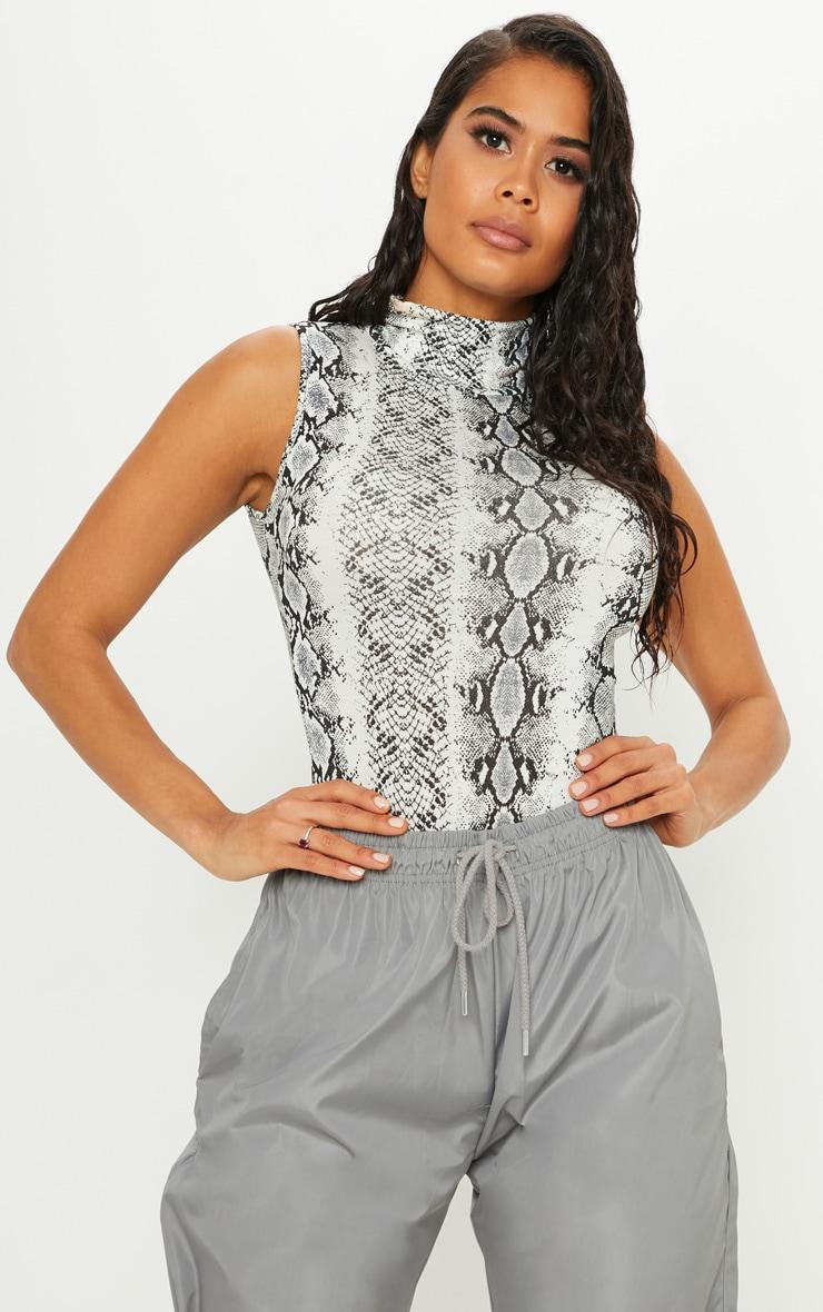 Grey Snake Print Roll Neck Sleeveless Bodysuit 1
