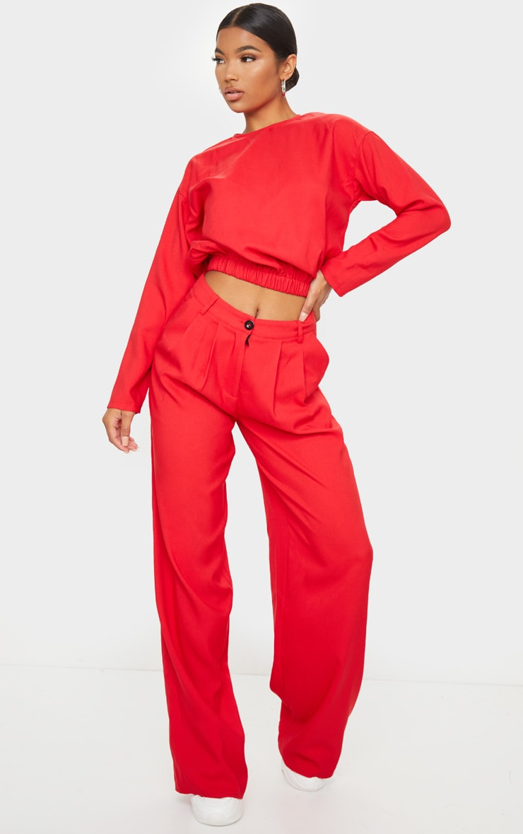 Red Woven Elastic Hem Cropped Long Sleeve Top 3