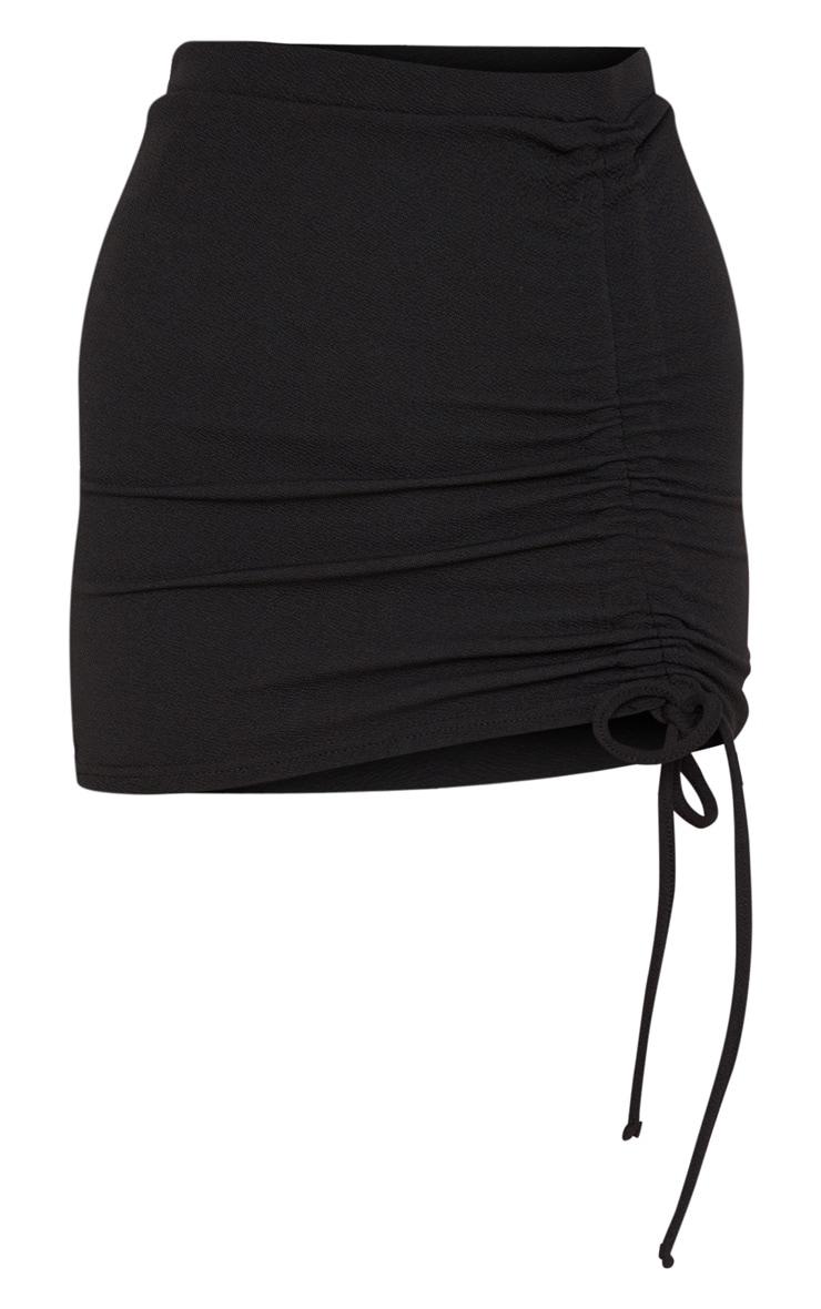 Black Ruched Detail Mini Skirt 3