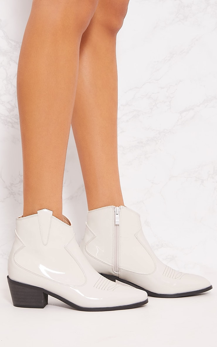White Patent Western Ankle Boot 5