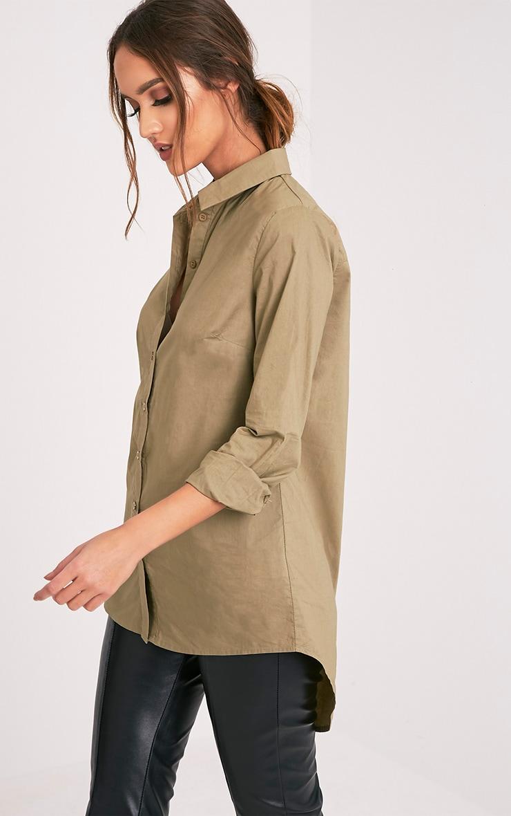 Analyn Khaki Drop Hem Shirt 4