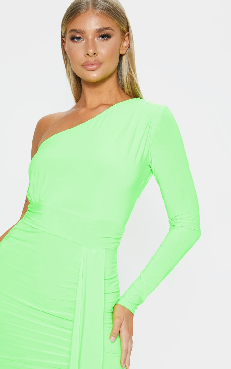 Neon Lime Slinky One Shoulder Drape Detail Bodycon Dress 5