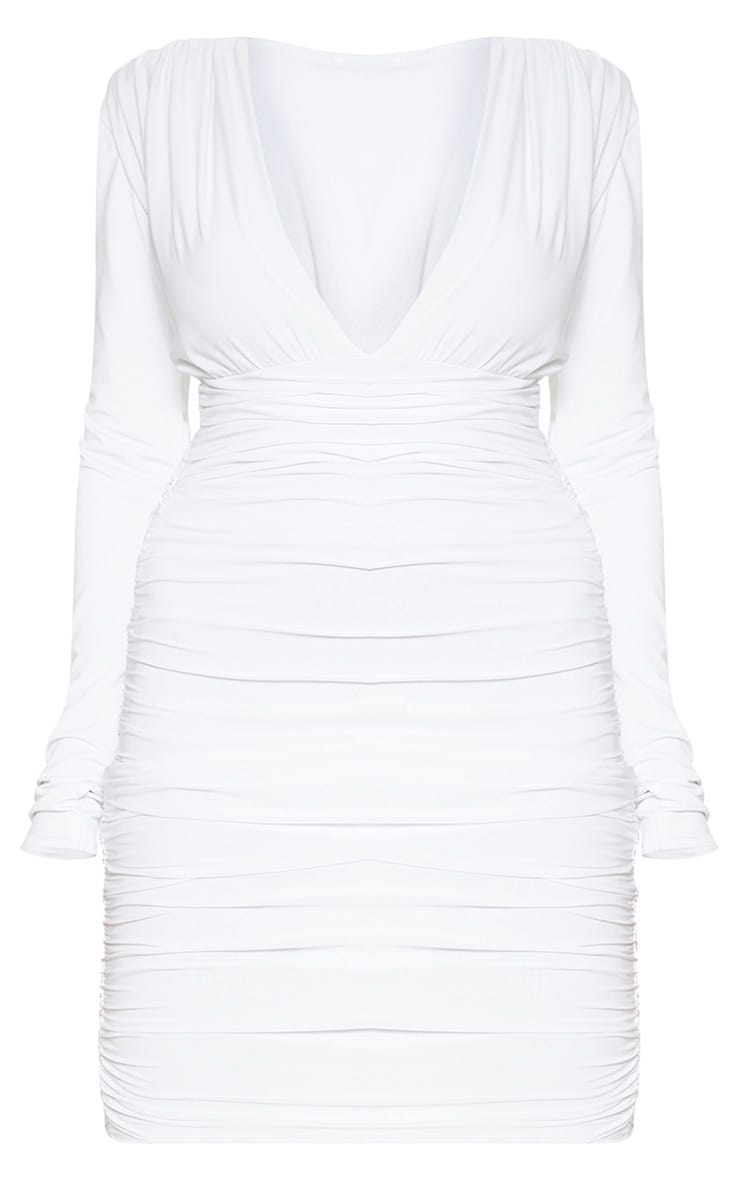 Plus White Ruched Plunge Bodycon Dress 3