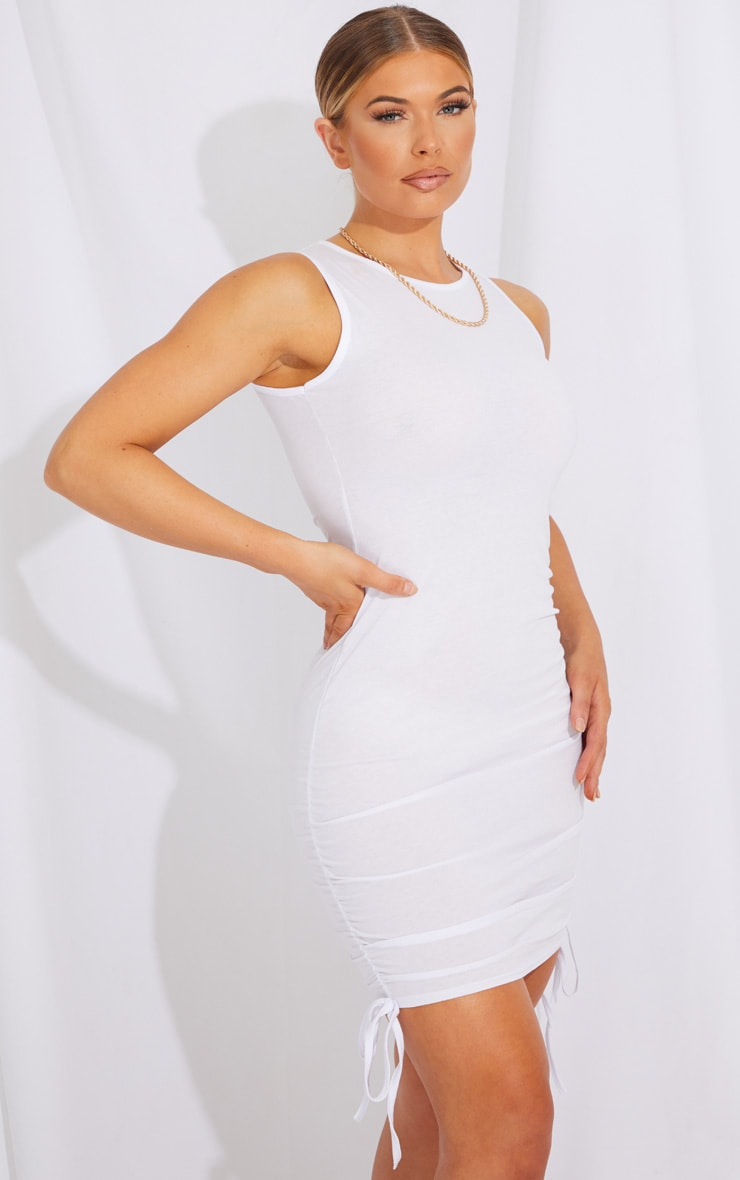 White Ruched Side Sleeveless Bodycon Dress 1