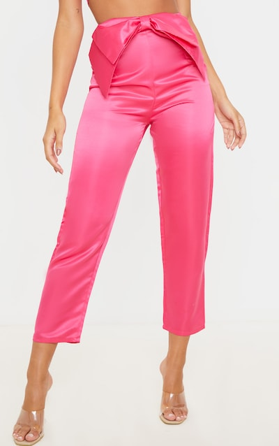 Pink Satin Bow Detail Cigarette Trouser