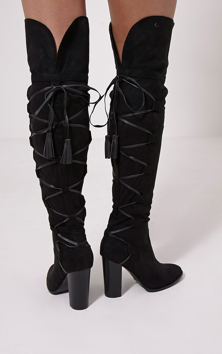 Amey Black Faux Suede Tassel Over The Knee Boots 2