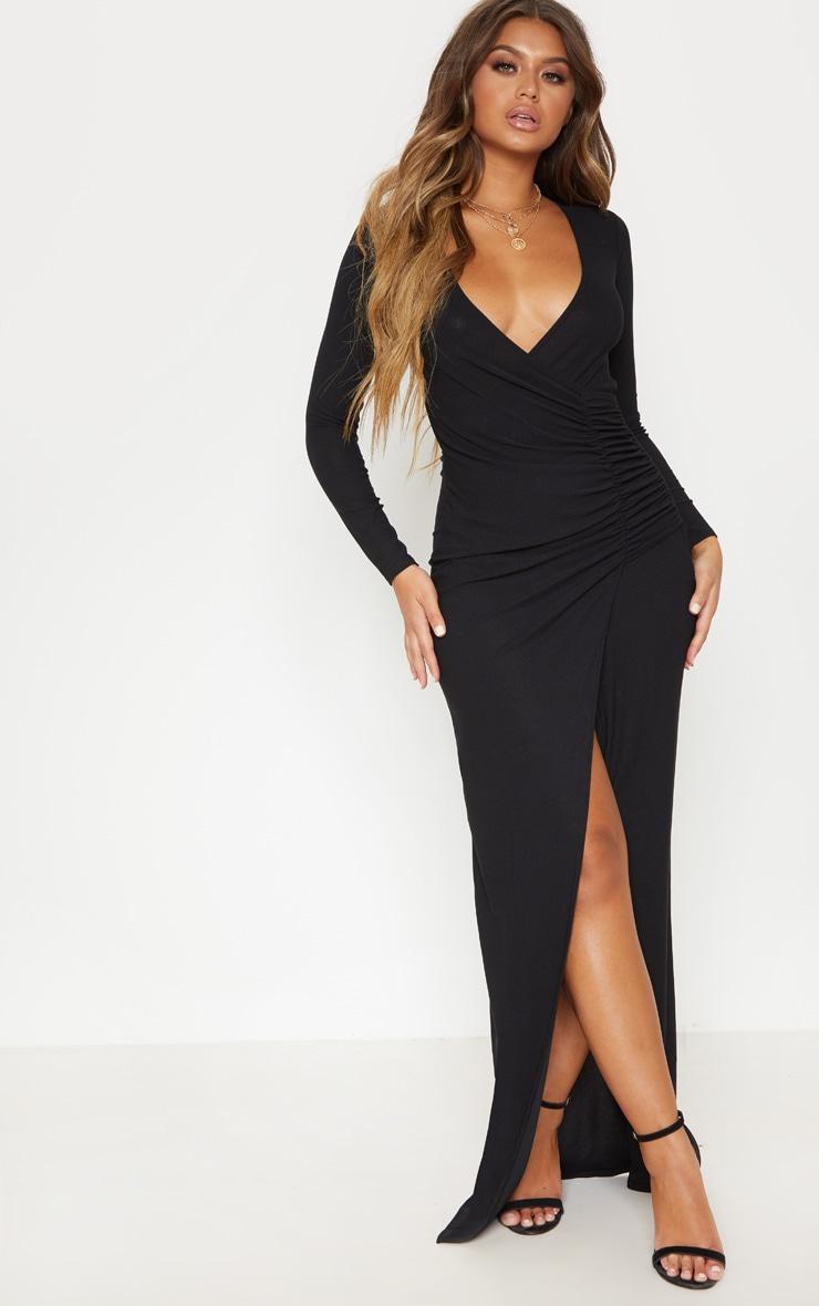 Black Plunge Ruched Split Leg Maxi Dress