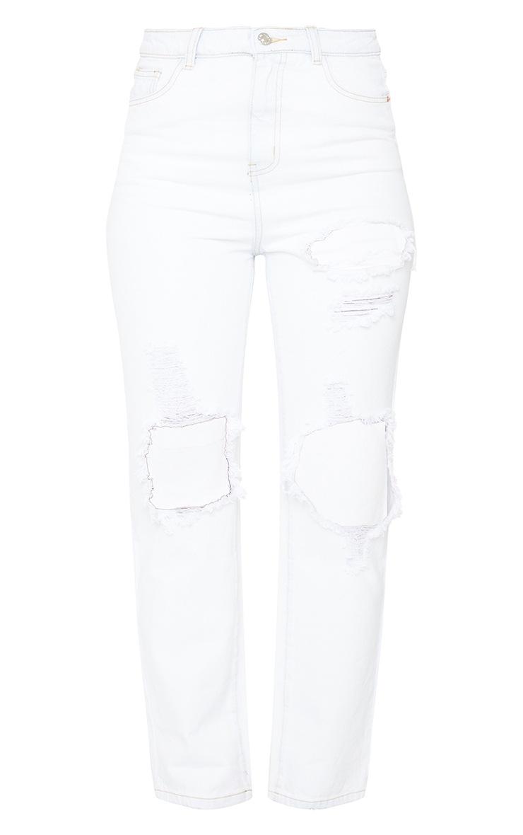 PRETTYLITTLETHING Bleach Wash Distressed Straight Leg Jeans 5
