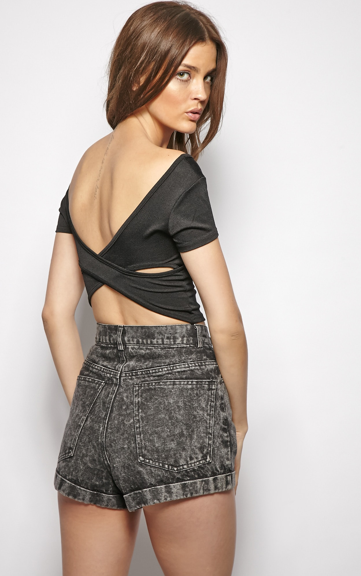 Bailey Black Cut Out Crop Top  1
