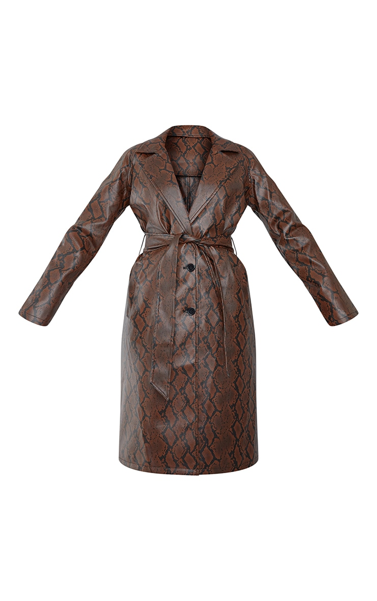 Chocolate Snake PU Belted Trench Coat 5