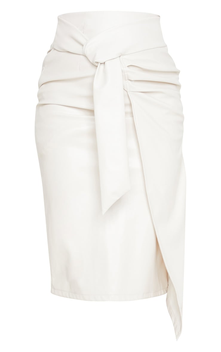 Cream Faux Leather Drape Front Midi Skirt 3