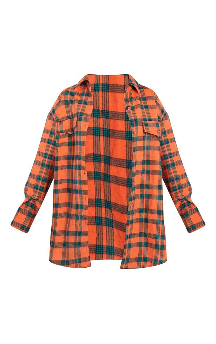 Petite Orange Checked Oversized Shirt 5