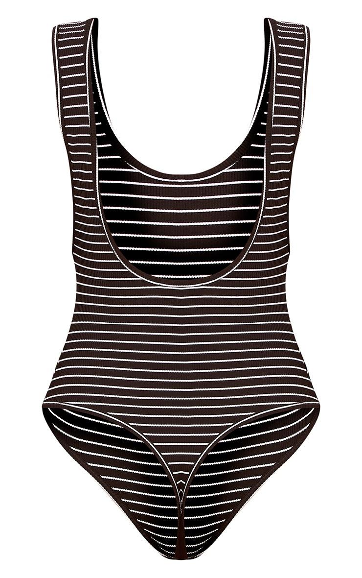 Black Stripe Drop Arm Thong Bodysuit 4