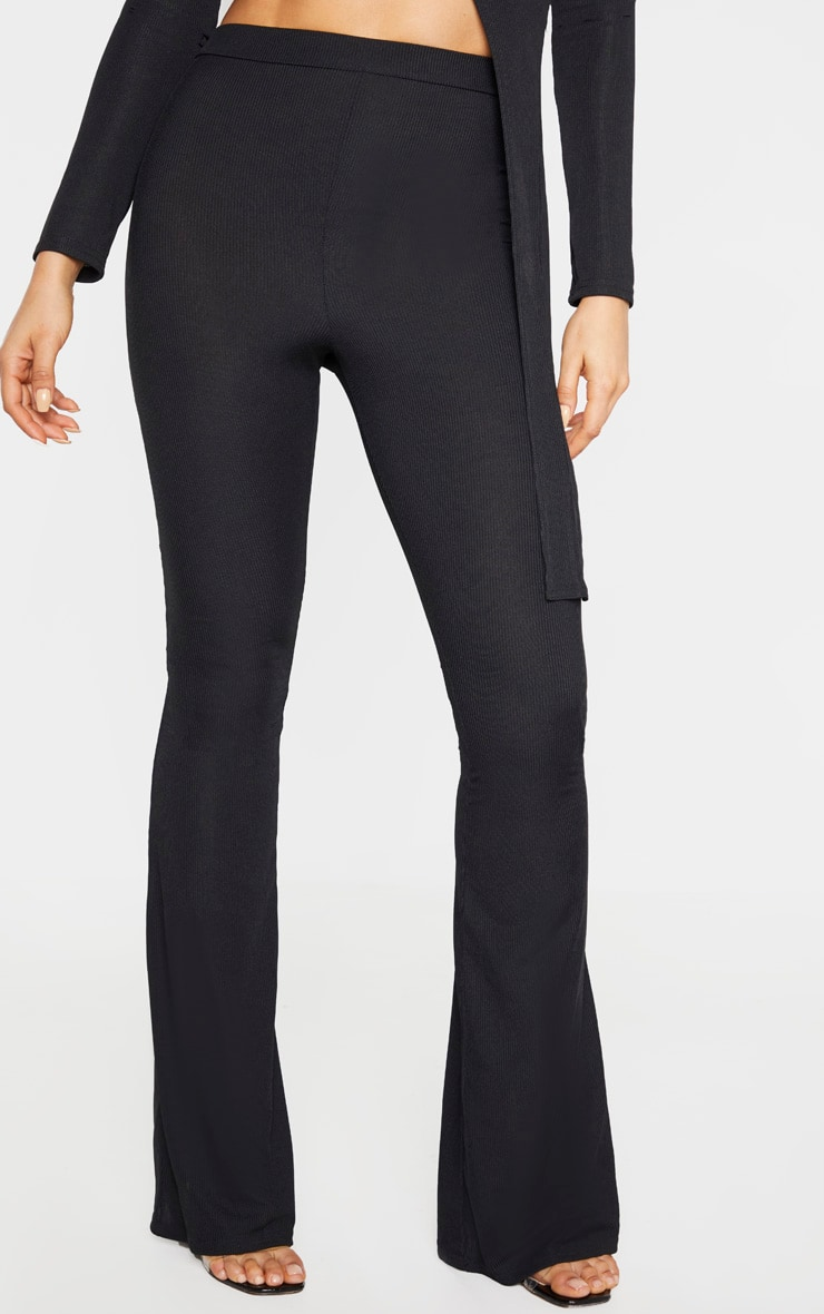 Tall Black Ribbed Flared Trousers 2