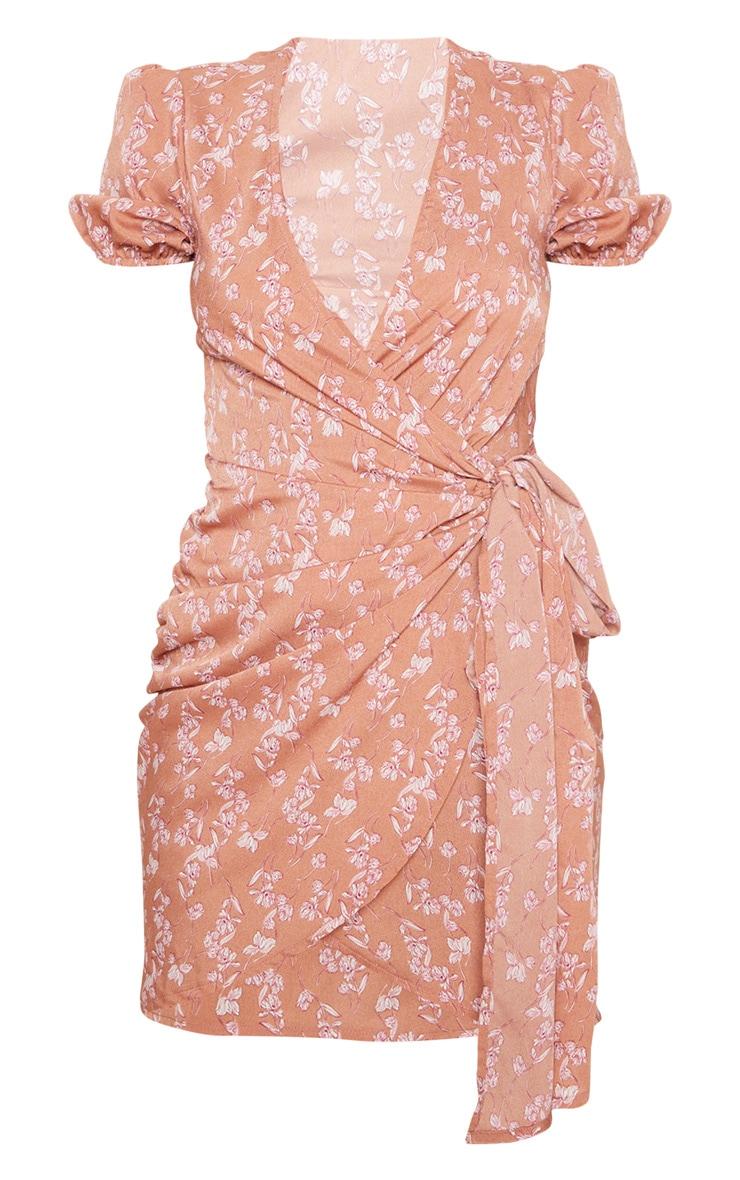 Pink Floral Print Tie Side Puff Sleeve Tea Dress 3