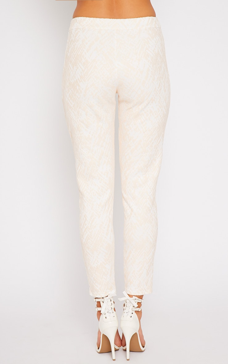 Ally Nude Abstract Print Flocked Cigarette Trousers 2
