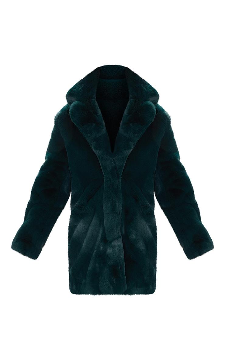 Emerald Green Premium Faux Fur Coat 3