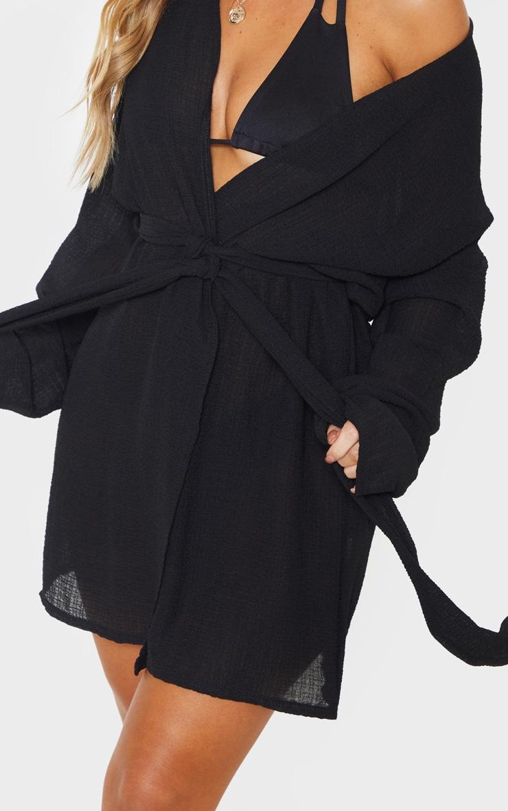 Black Crinkle Textured Short Beach Kimono 5