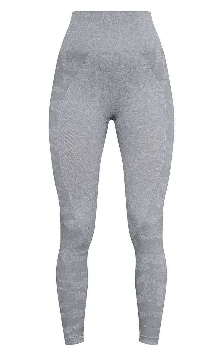 Legging sport gris sans coutures à parties camouflage 5