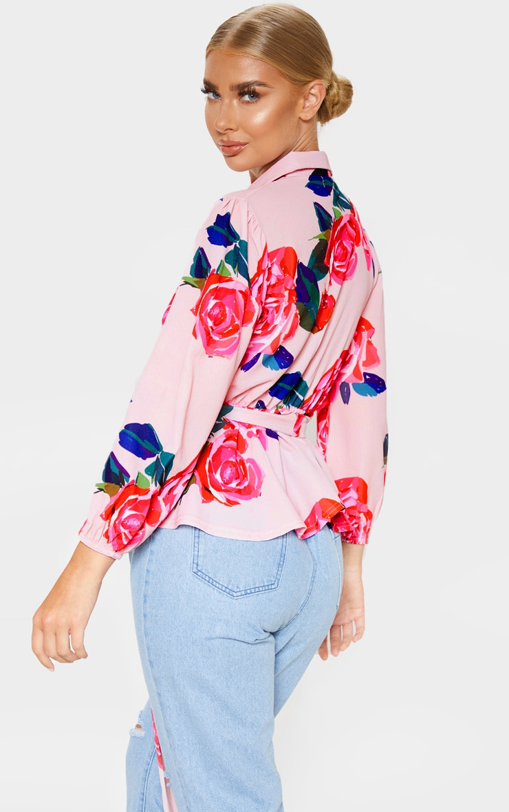 Pink Floral Printed Plunge Tie High Neck Blouse 2