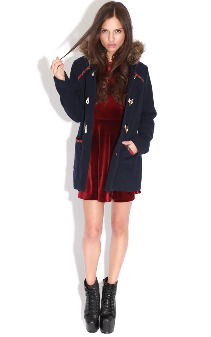 Rachel Navy Tartan Trim Duffle Coat 3