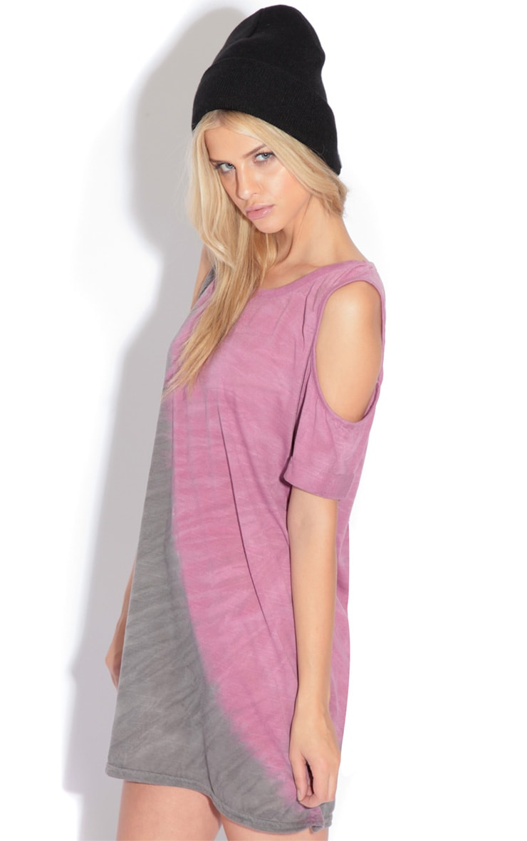 Leah Purple & Grey Tie Dye Cut Out Shoulder Top 1