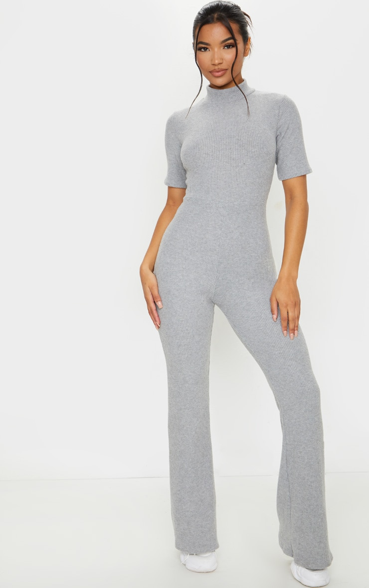 Grey Brushed Rib High Neck Flared Jumpsuit 3