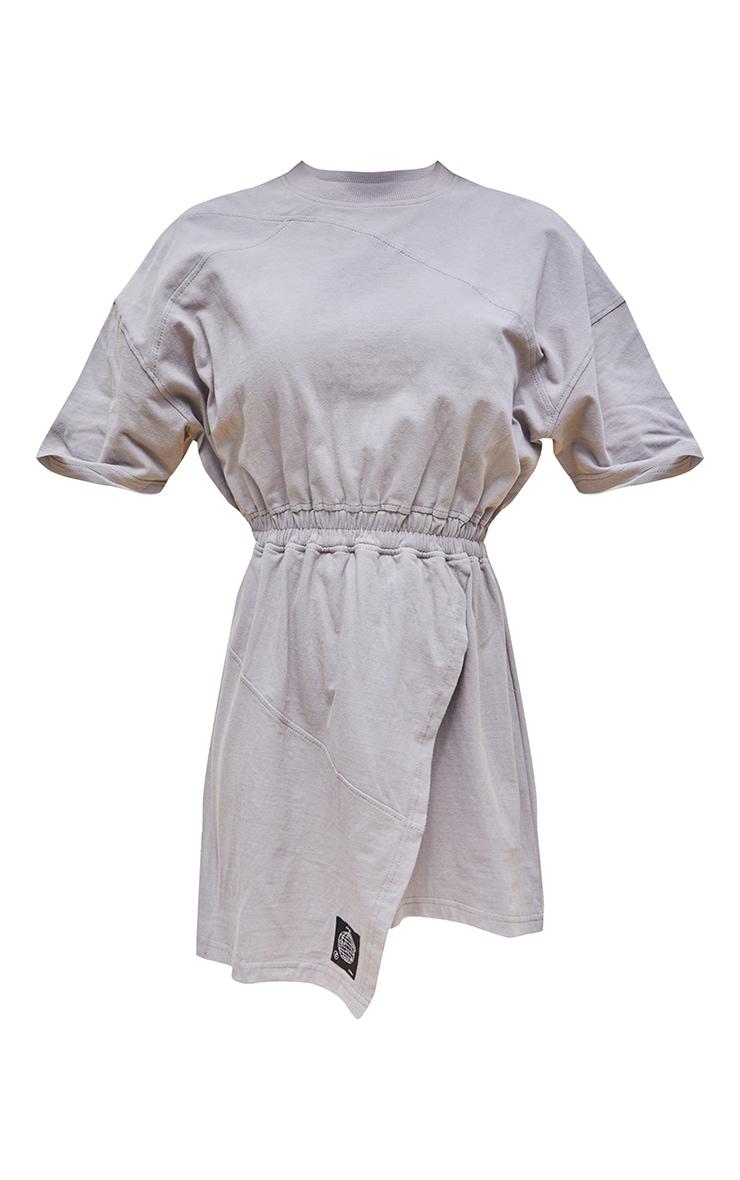 PRETTYLITTLETHING Charcoal Cotton Wrap Skirt T Shirt Dress 5