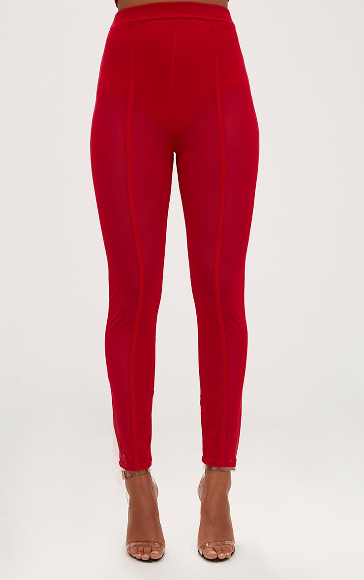 Red Mesh Front Seam Skinny Trousers 2