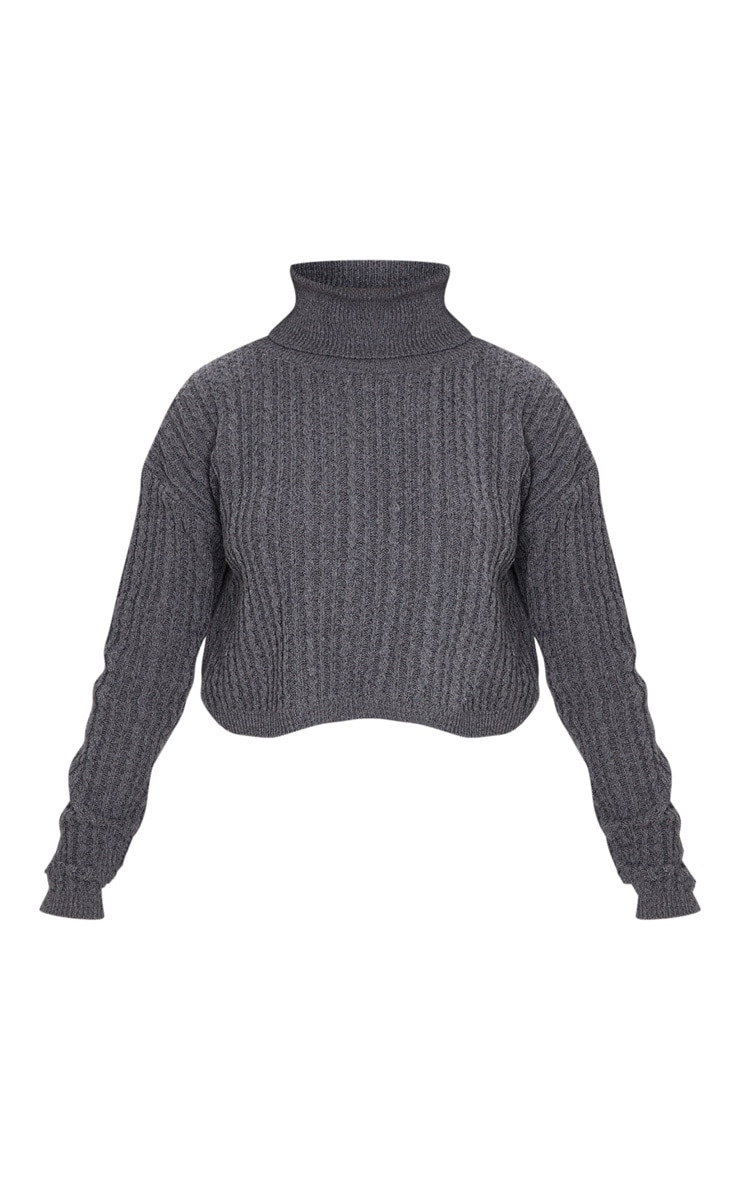 Petite Charcoal Roll Neck Knitted Long Sleeve Sweater 3