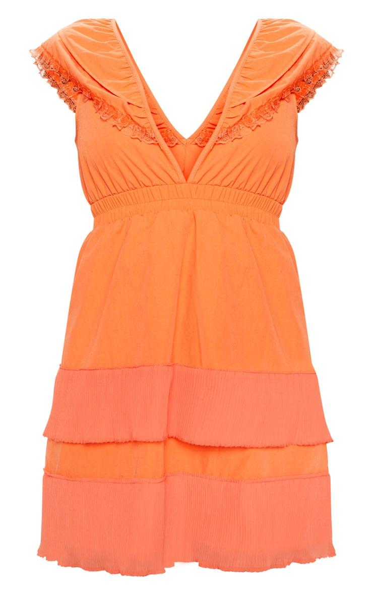 Bright Orange Tiered Ruffle Shift Dress 3