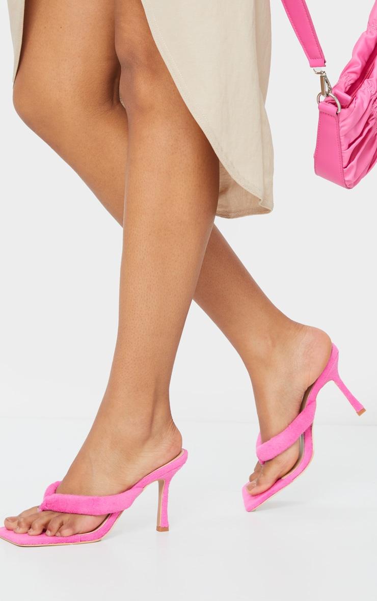 Pink Towelling Tube Strap Toe Thong Mid Heels 1