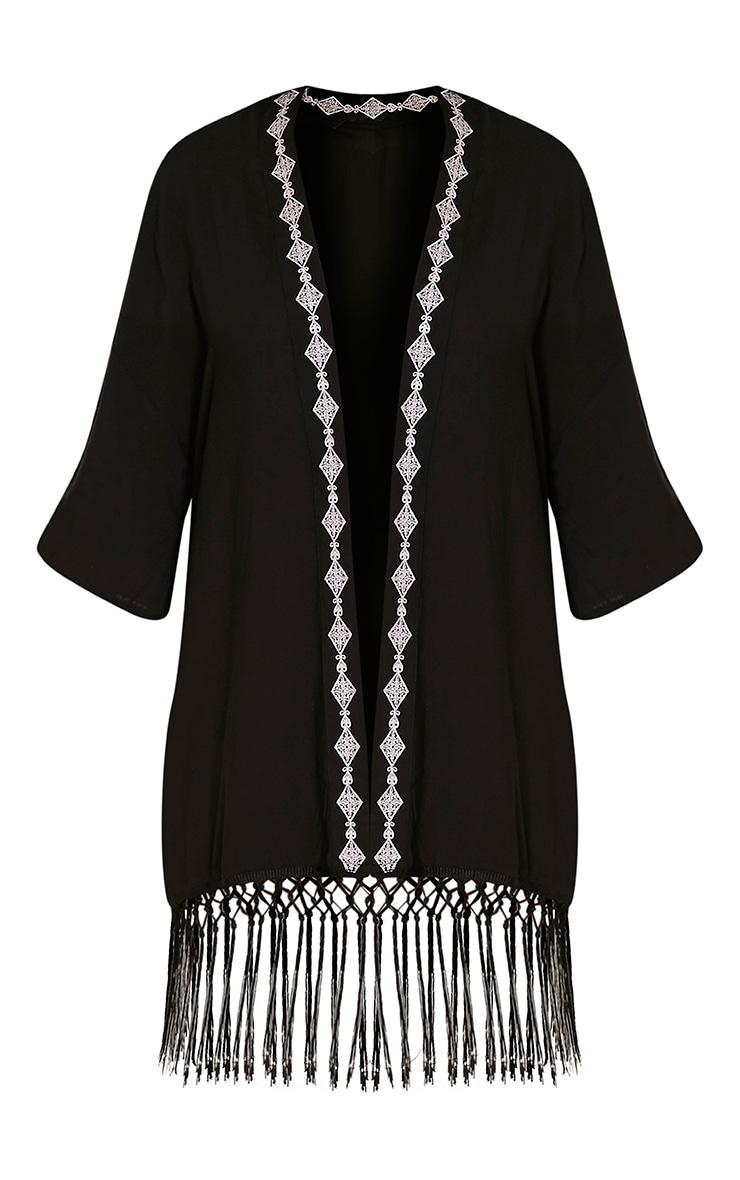Angelina Black Tassel Trim Kimono 3