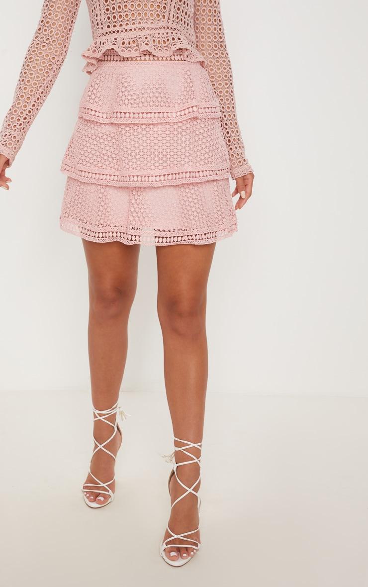 Pink Crochet Tiered Frill Mini Skirt 2