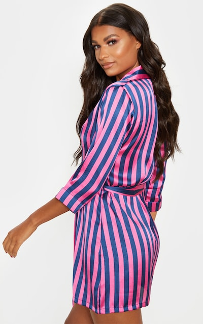 Navy And Pink Stripe Satin Robe