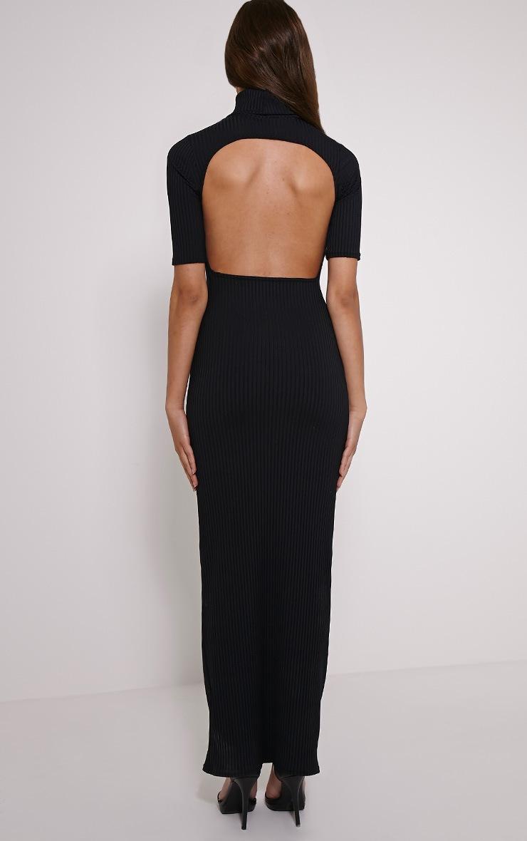 Daria Black Open Back Ribbed Maxi Dress 2