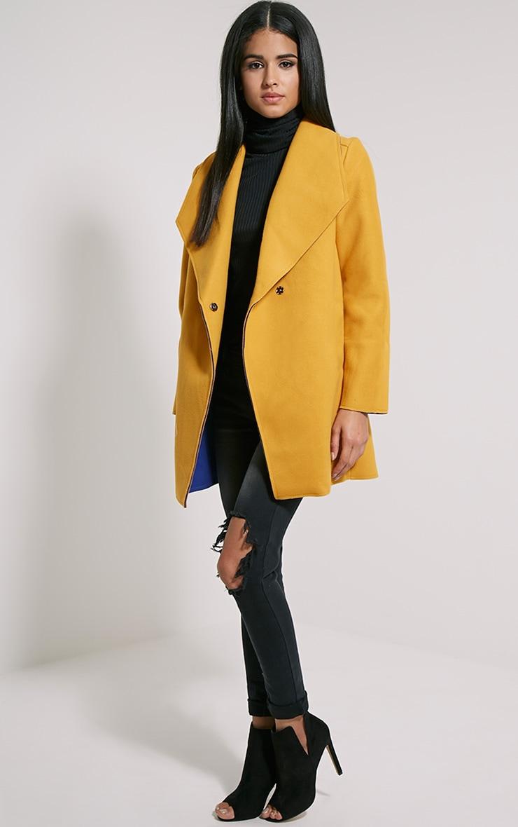 Saphari Mustard Contrast Oversized Coat 3