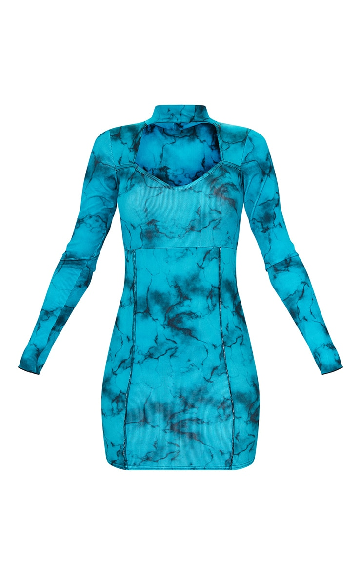 Blue Tie Dye Rib Stitch Detail High Neck Long Sleeve Cut Out Bodycon Dress 5