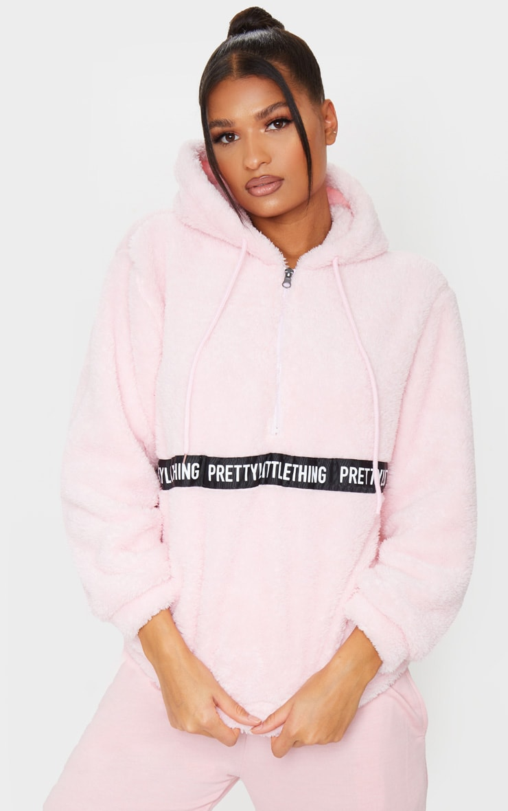 PRETTYLITTLETHING Baby Pink Borg Tape Oversized Zip Sweater 1