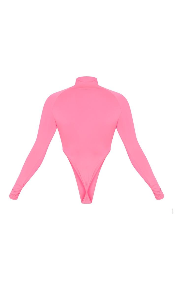 Neon Pink Slinky High Neck Long Sleeve Bodysuit 4