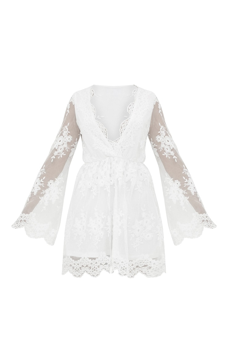 White Lace Plunge Bell Sleeve Skater Dress  3