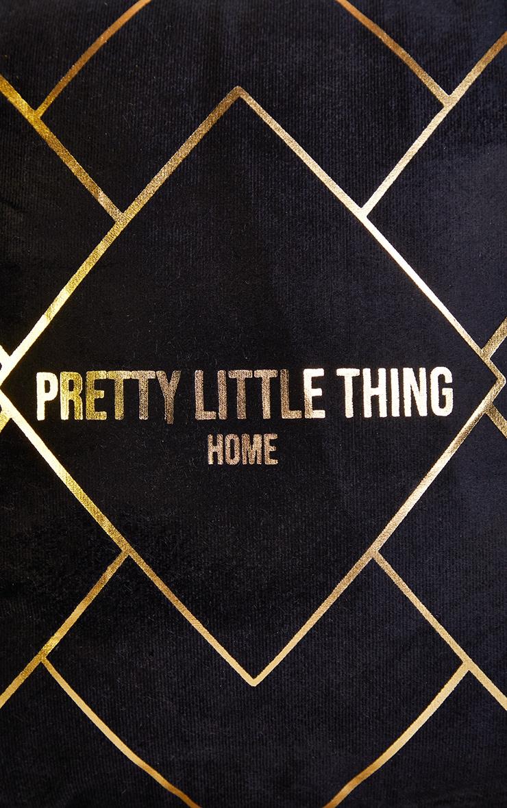 PRETTYLITTLETHING Black with Gold Geo Print Cushion 4