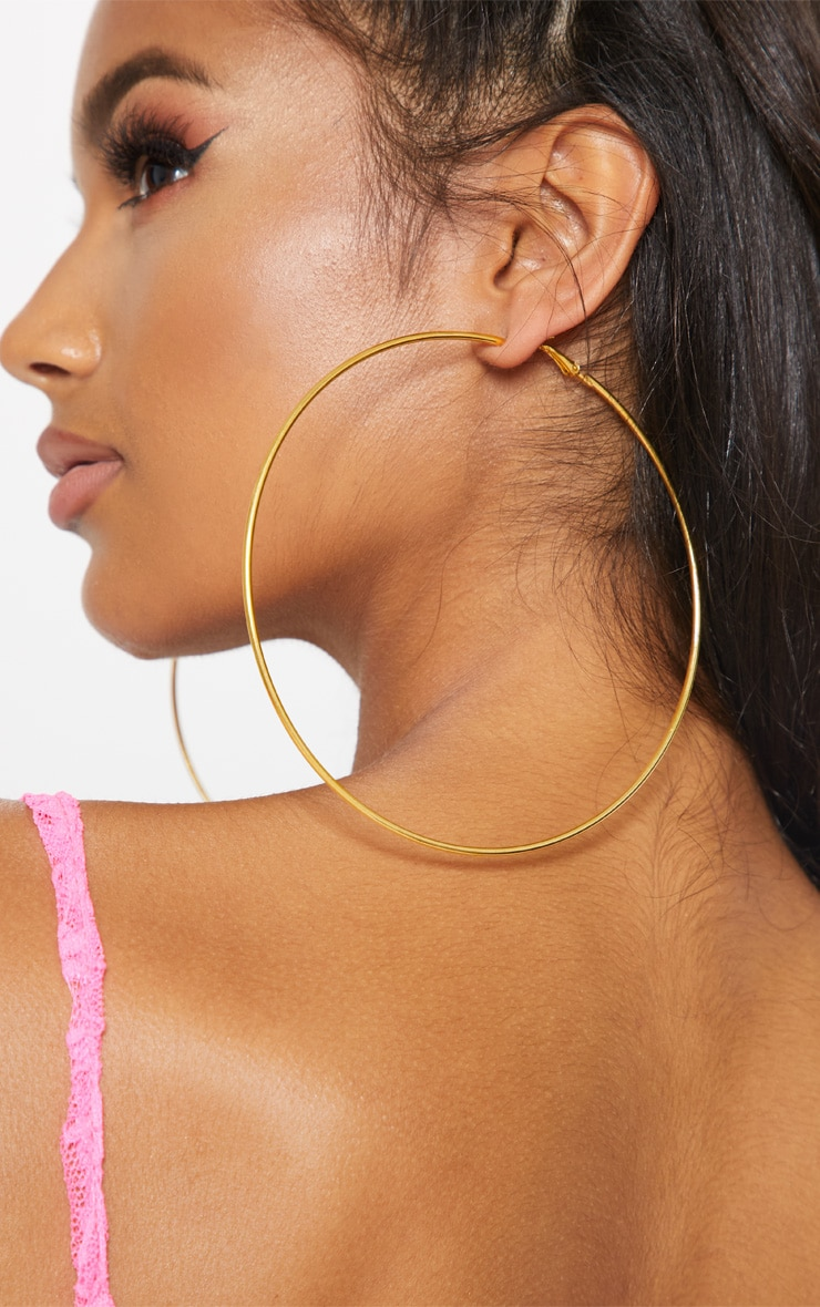 Gold 120mm Large Hoop Earrings 2