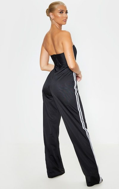 Black Sports Stripe Bandeau Jumpsuit