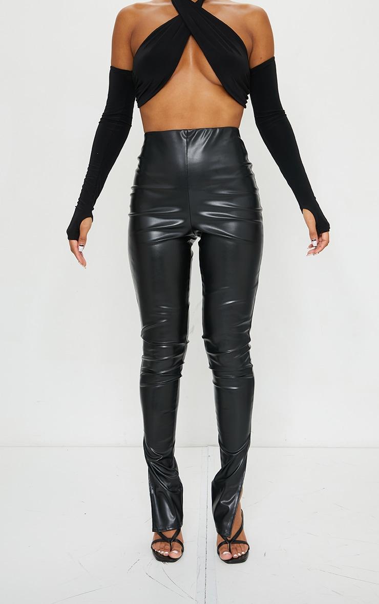Black Faux Leather Split Hem Pants 5