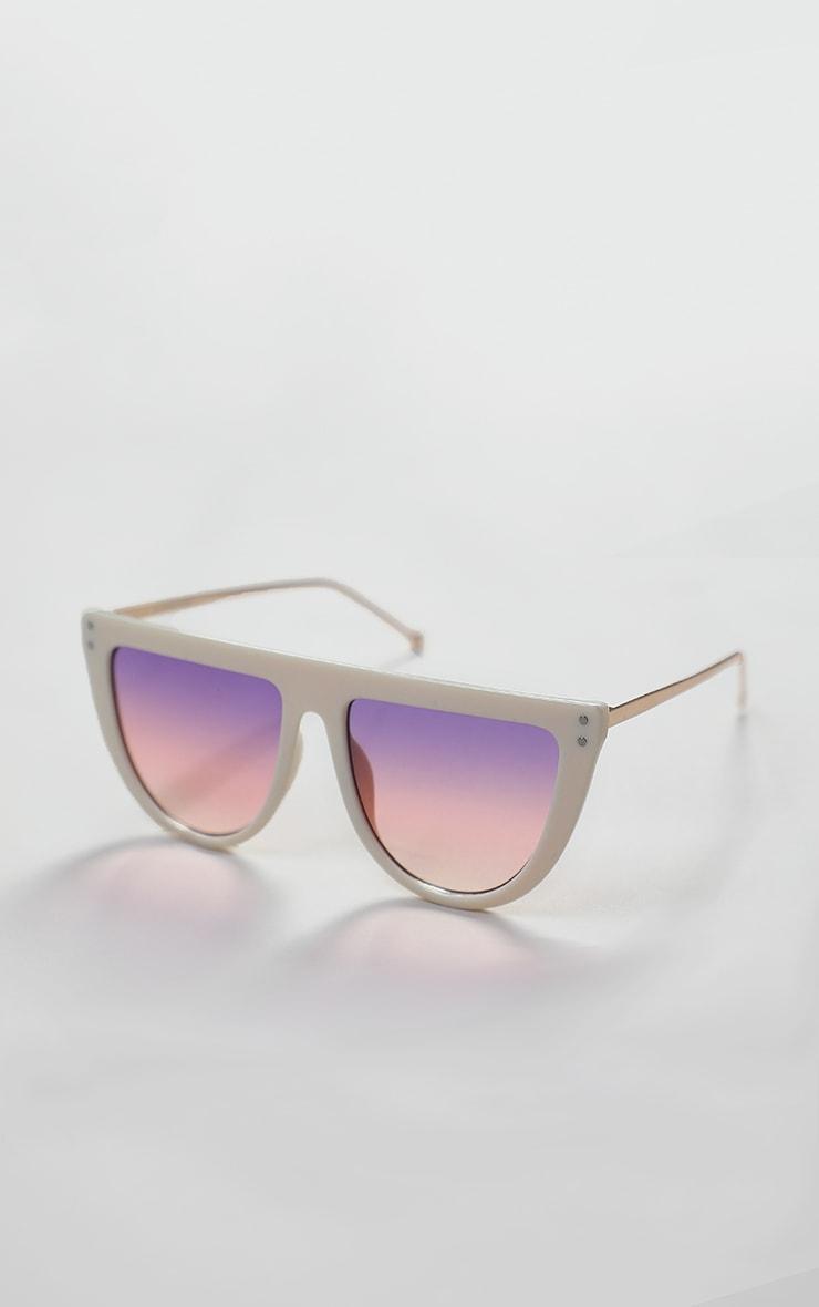 Pink Flat Bar Round Edge Sunglasses 2