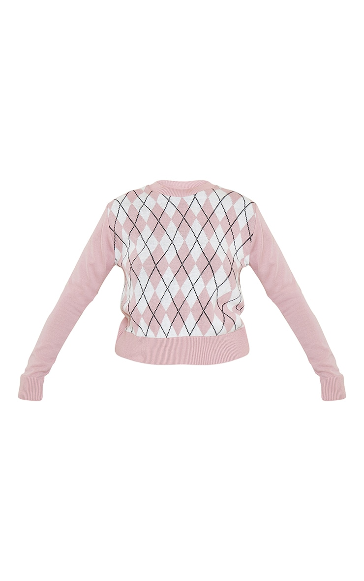 Blush Check Plain Sleeve Knitted Sweater 5
